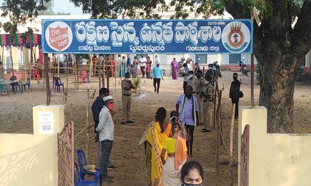 Polling in progress in Stuartpuram of Bapatla mandal of Guntur district on Thursday